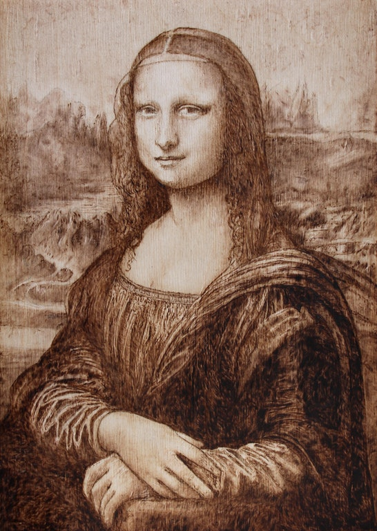 mona lisa pyrography pattern
