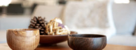 wooden bowls on table