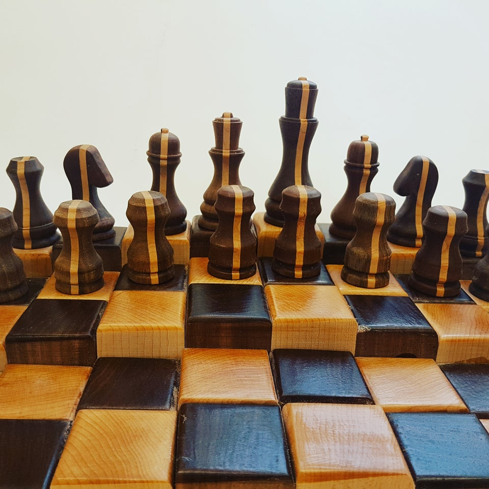 wood turned chess pieces